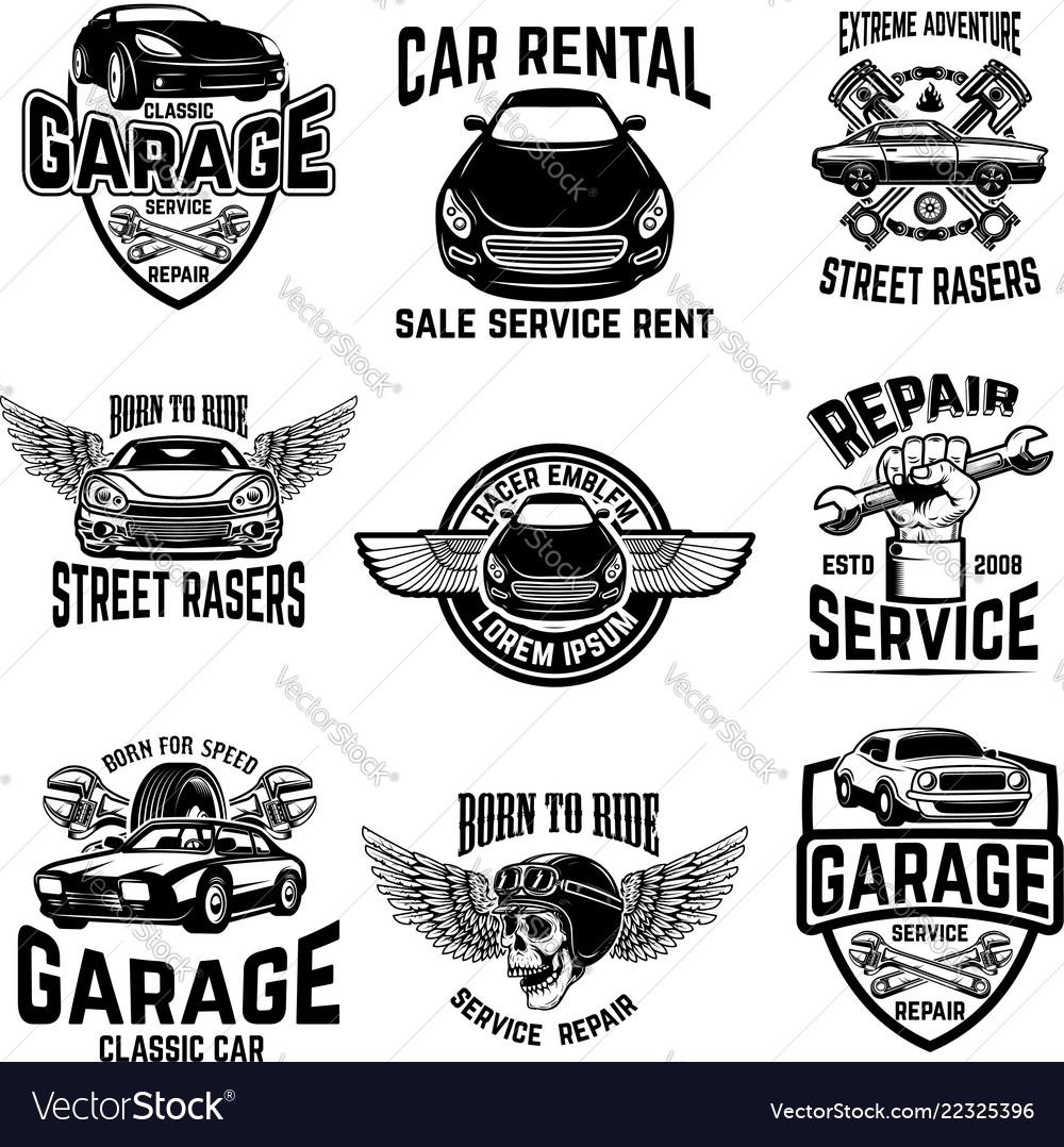 Car Repair Garage Auto Service Emblems Design Vector Image