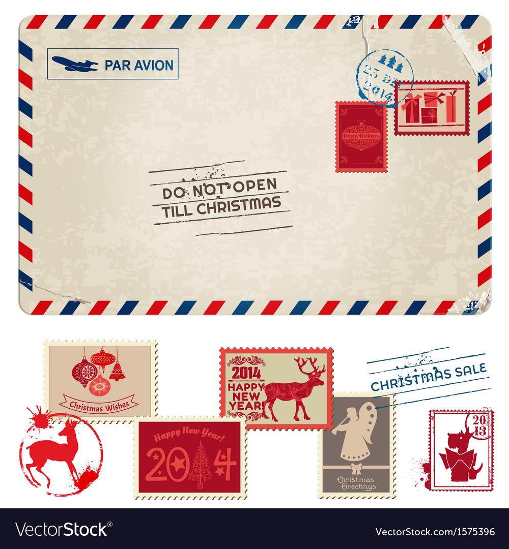 Christmas Stamps.Christmas Vintage Postcard With Postage Stamps