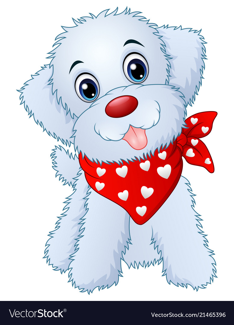 Cute cartoon puppy wearing a red scarf