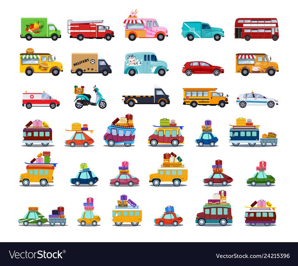 Cute city transport set colorful childish cars