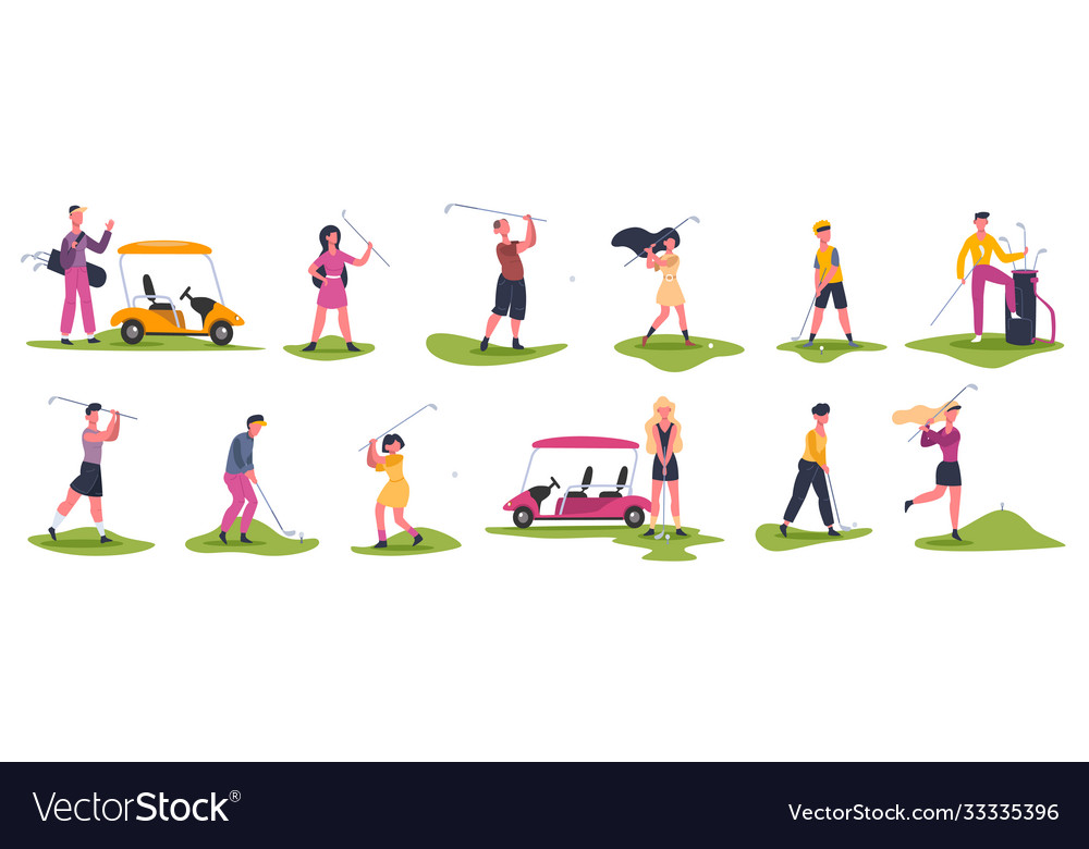 Golf people scenes male and female golfers