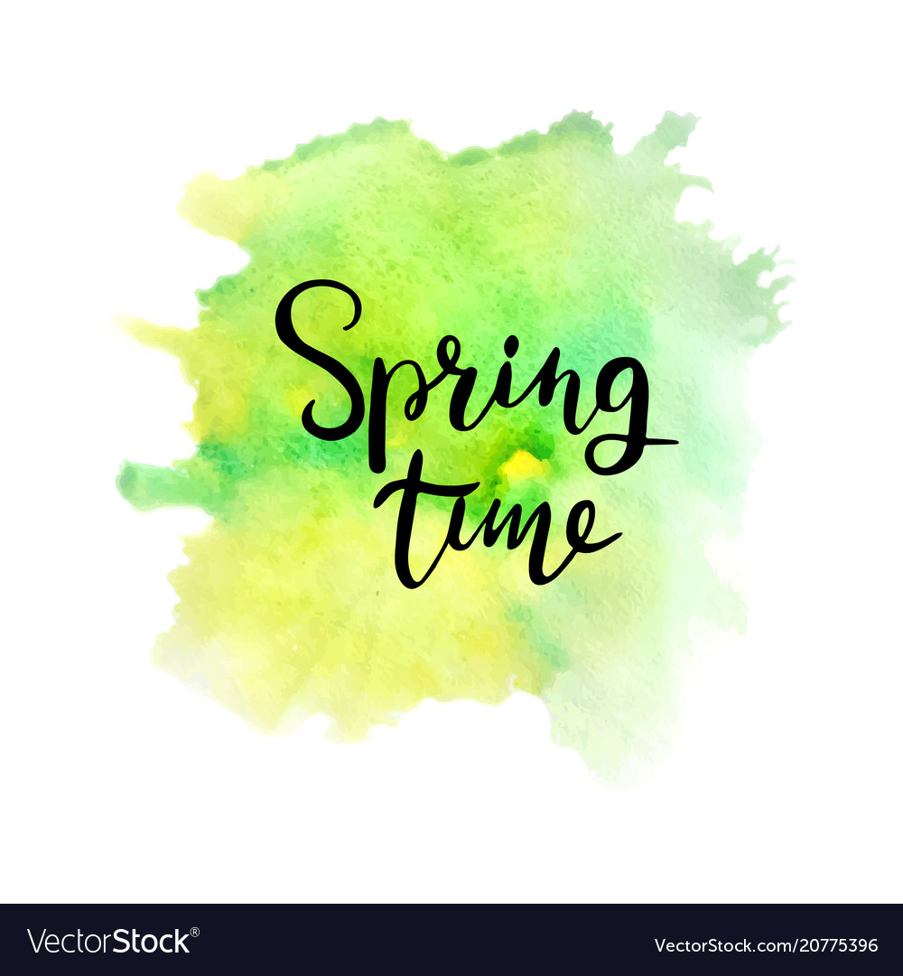 Green and yellow watercolor splash spring time vector image