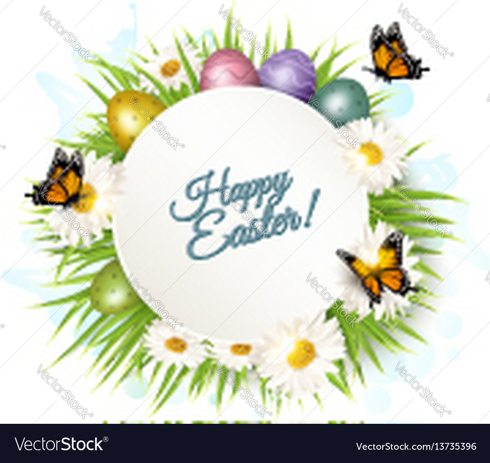 Holiday gift card with easter eggs and daisies