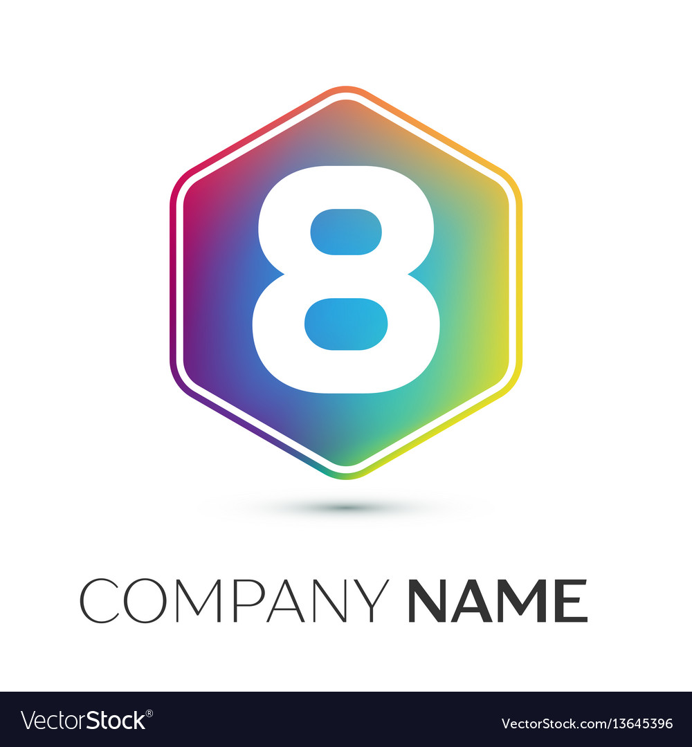 Number eight logo symbol in the colorful hexagonal
