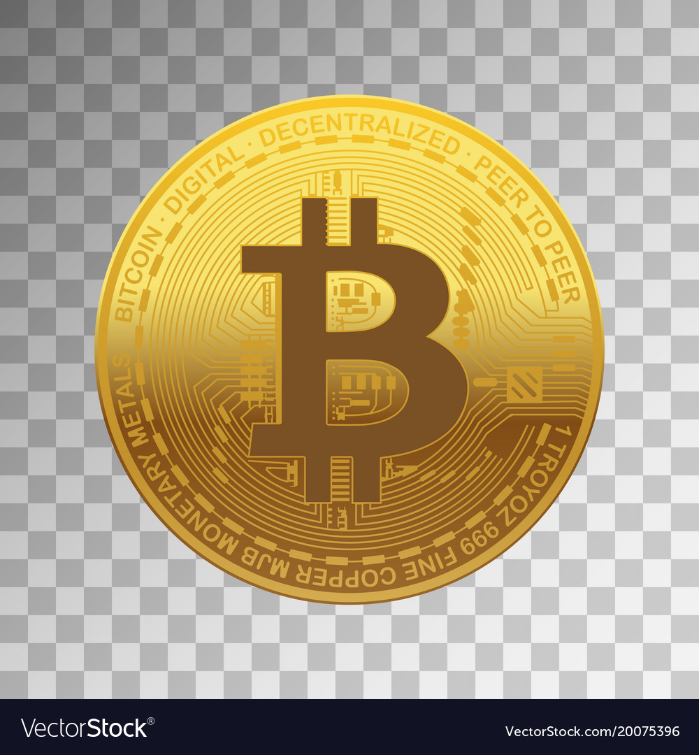 One golden bitcoin on transparent background Vector Image