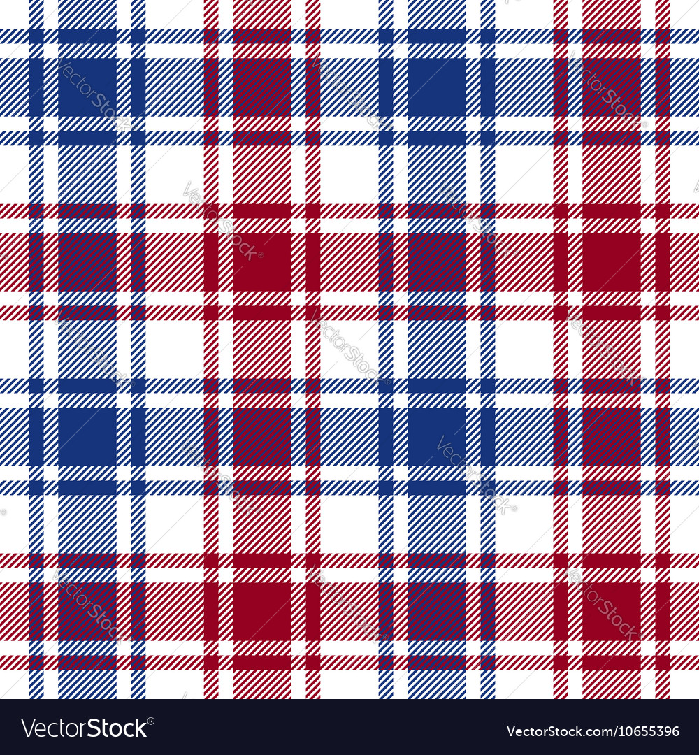 Red blue white check plaid texture seamless vector image