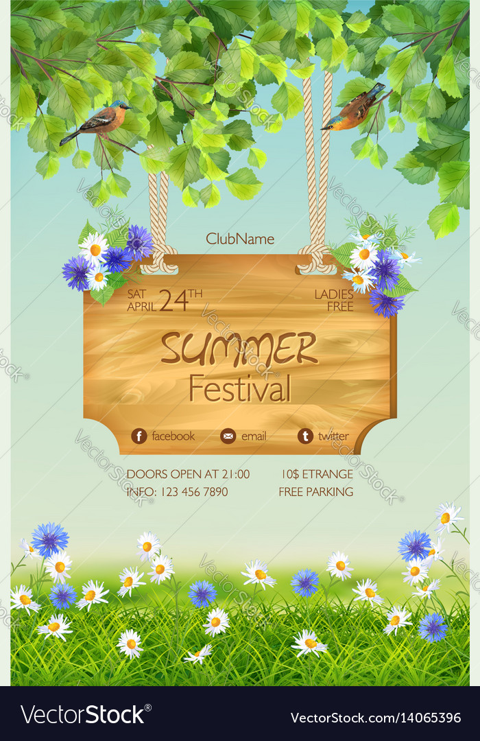 Summer poster template vector image