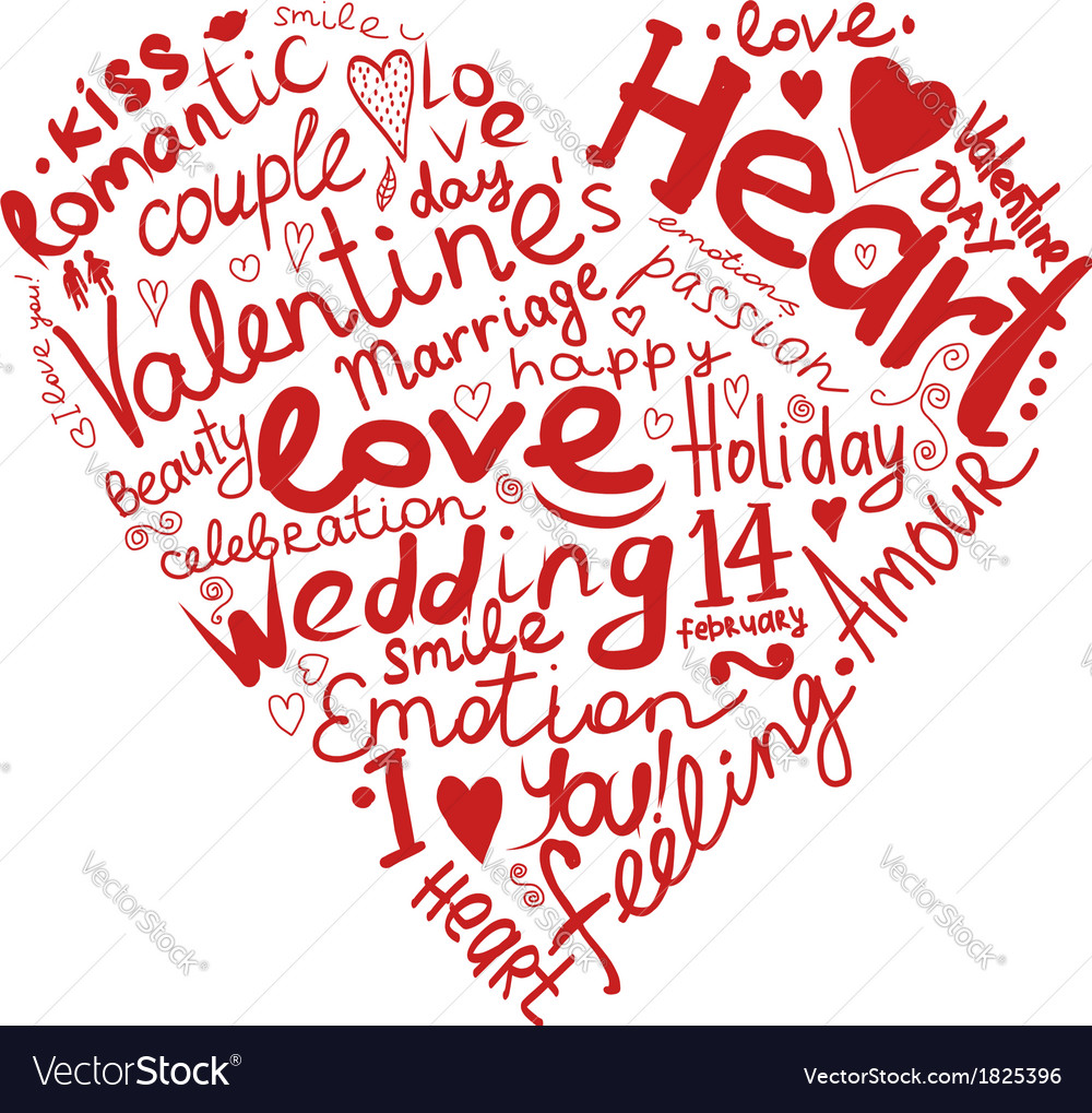 Valentine heart sketch for your design vector image