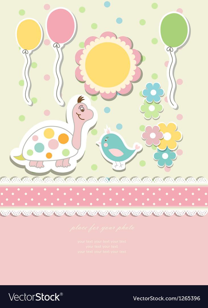Vintage doodle baby card