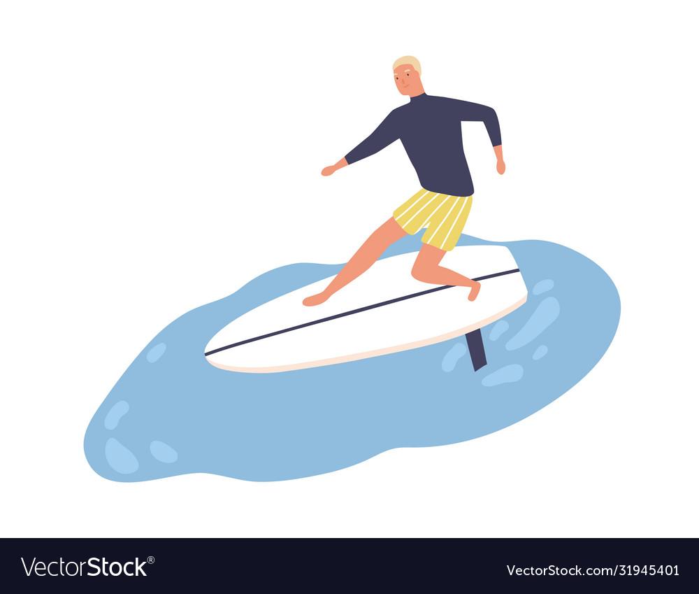 Active male enjoying surfing flat