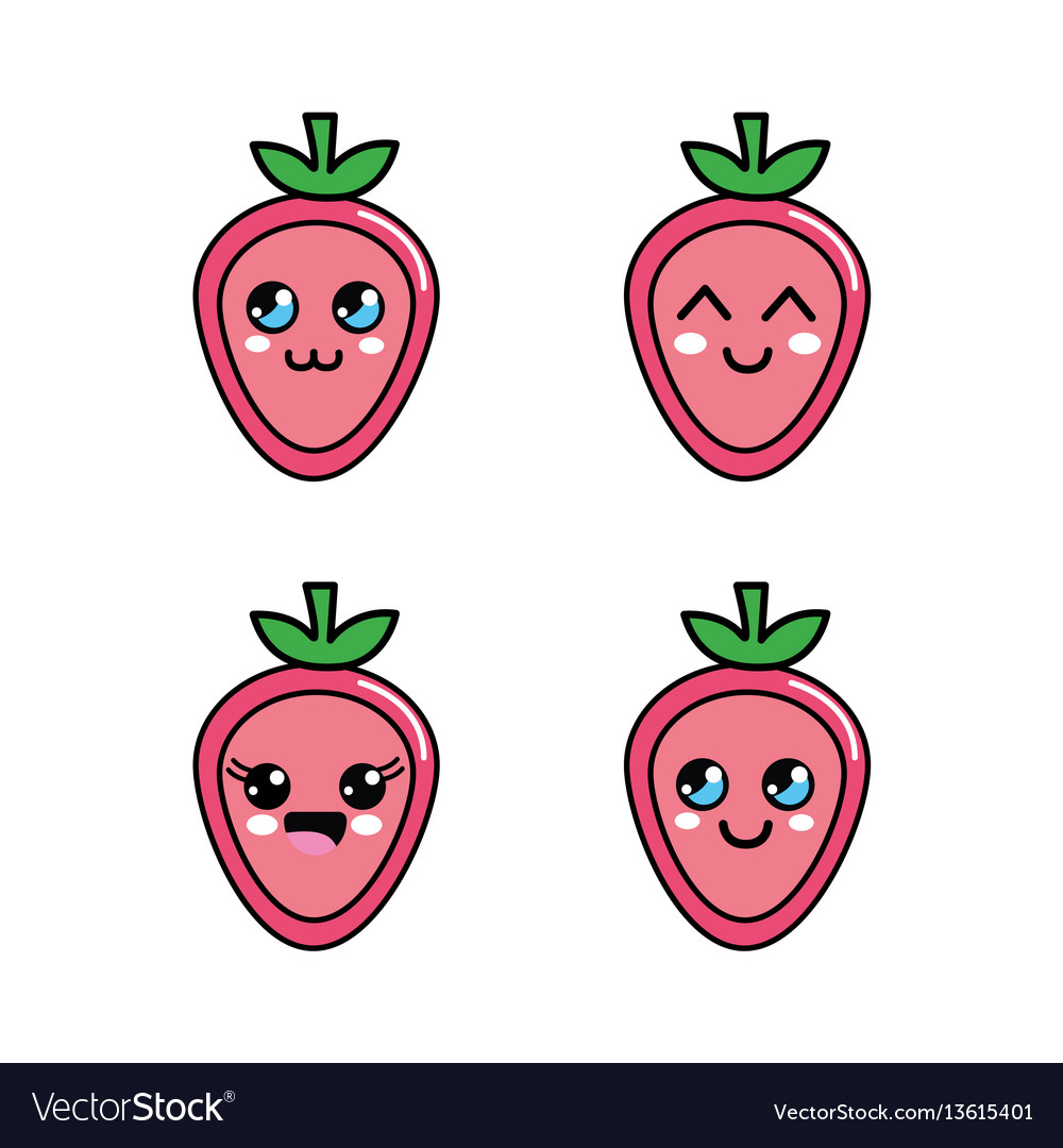 Kawaii strawberry diferents faces icon
