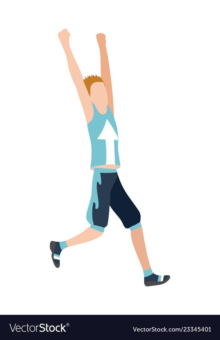 Running man in flat design style sport