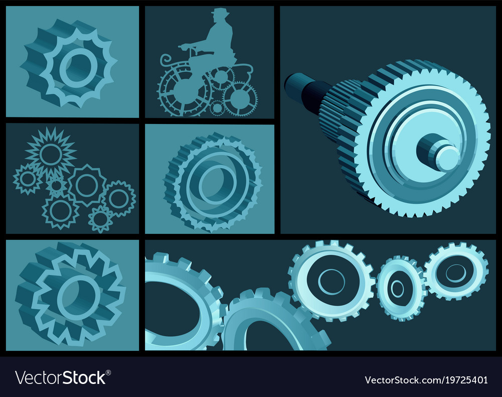 Set of abstract gears