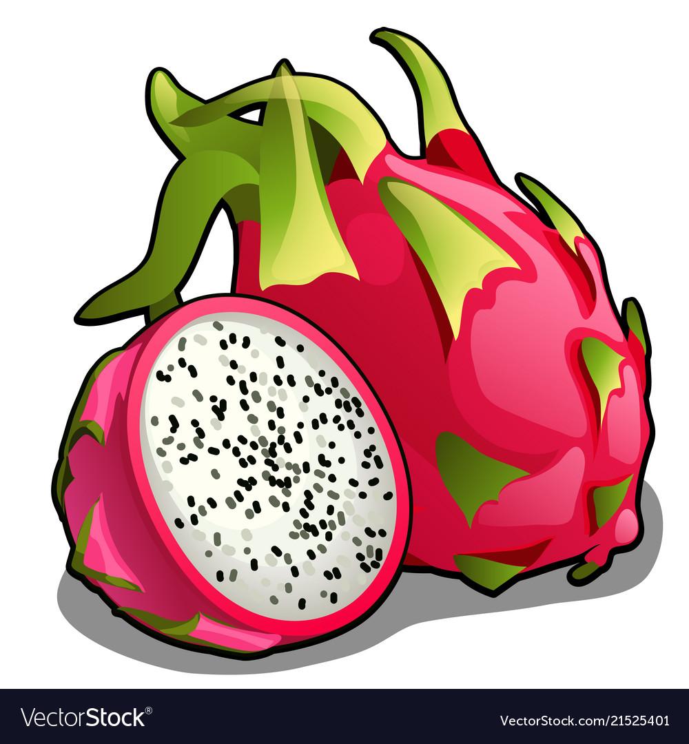 Set of whole and half of ripe pitahaya fruit or