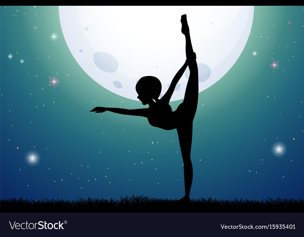 Silhouette woman doing yoga at night vector image