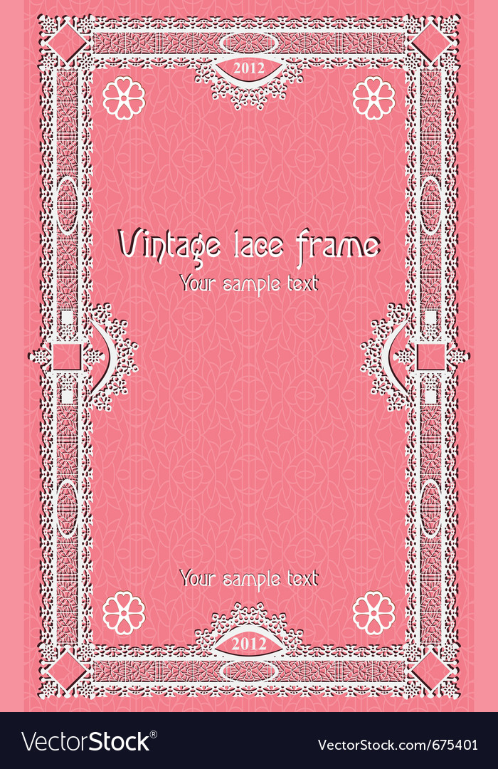 Template lace border frame design for card sertifi vector image