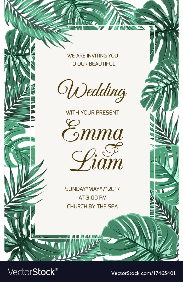 Wedding invitation card template tropical leaves vector image stopboris Image collections