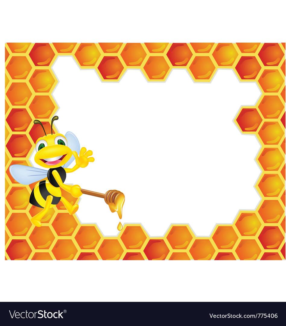 Bee cartoon with honeycomb