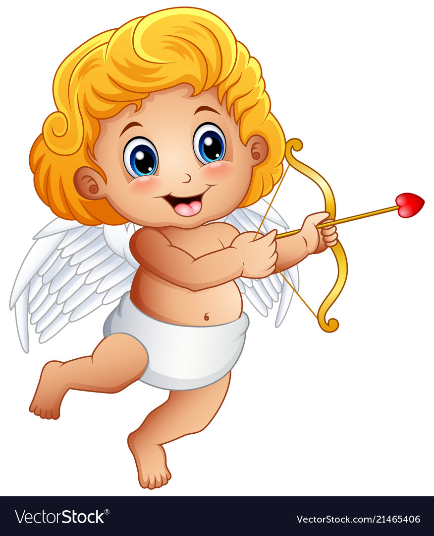 Cartoon baby cupid shoot a bow isolated on a white