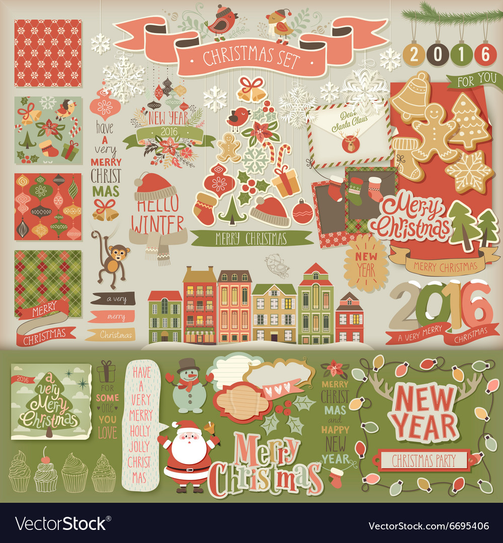 Christmas scrapbook set - decorative elements
