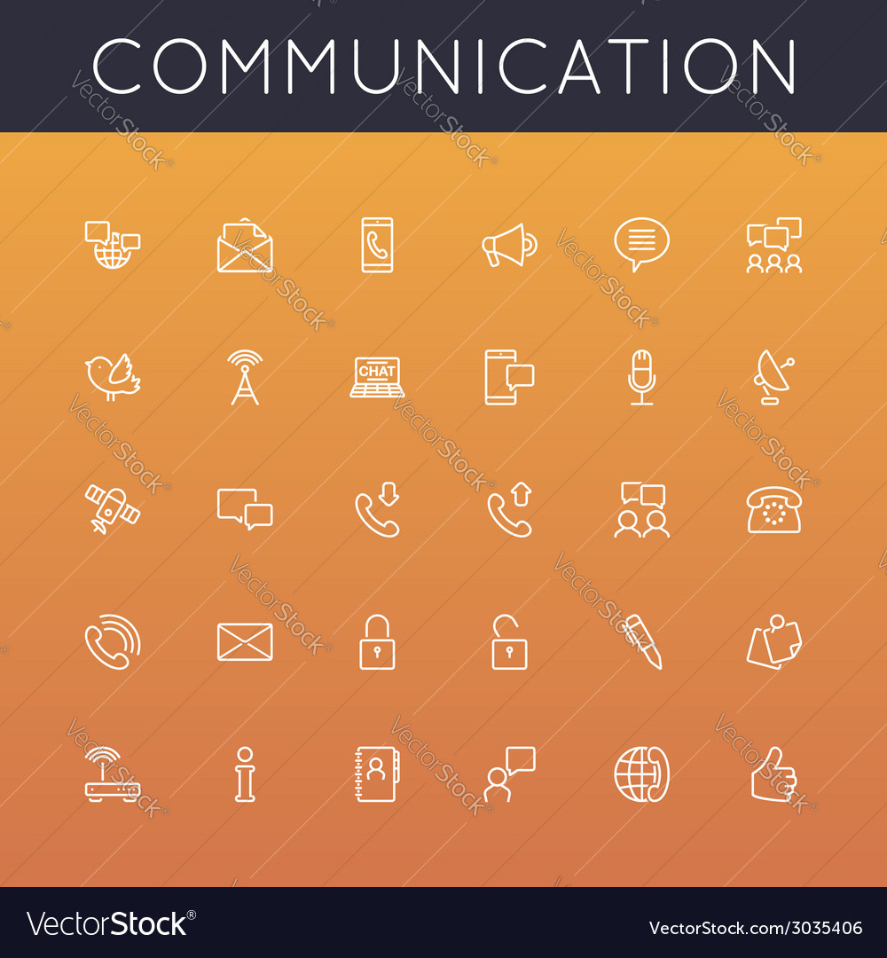 Communication Line Icons vector image