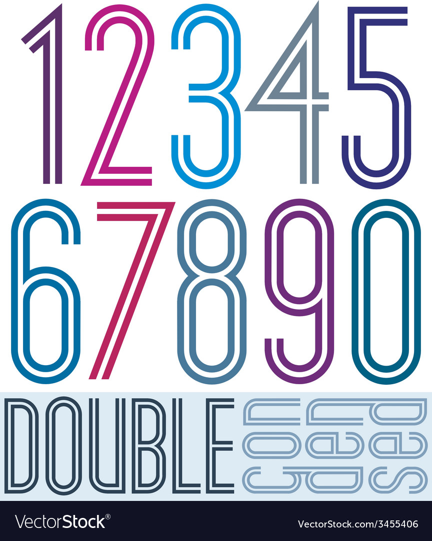 Condensed colorful double numbers on white vector image
