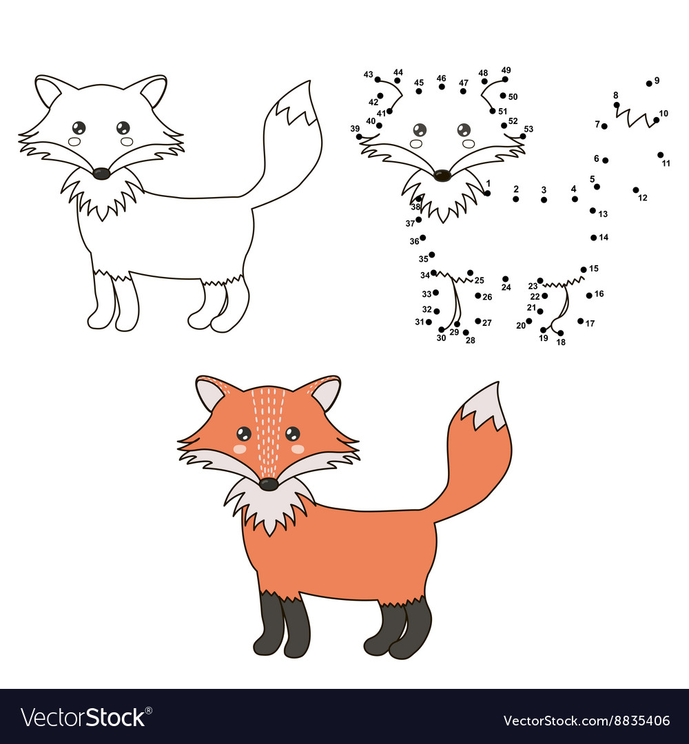 Connect The Dots To Draw A Cute Fox And Color It Vector Image