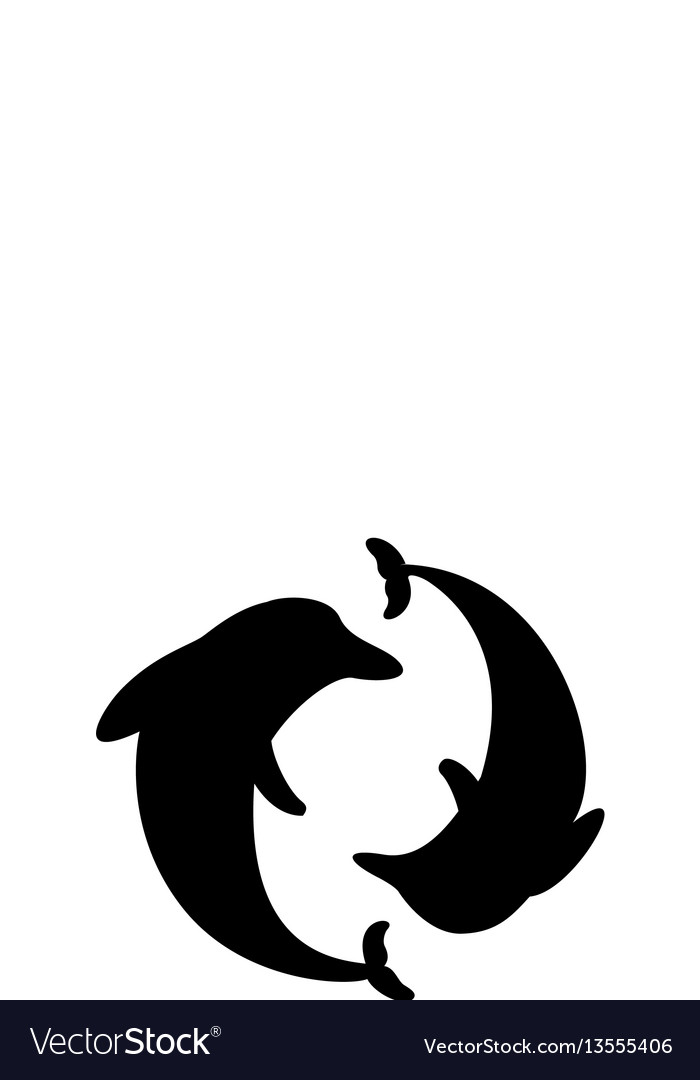 Dolphin arranged in a circle silhouette