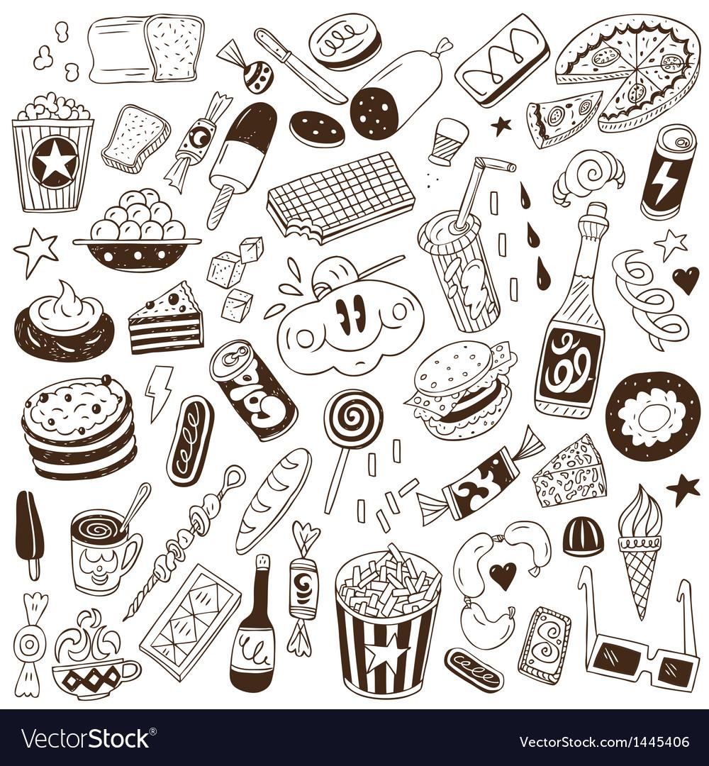 Fast Food Doodles Royalty Free Vector Image Vectorstock