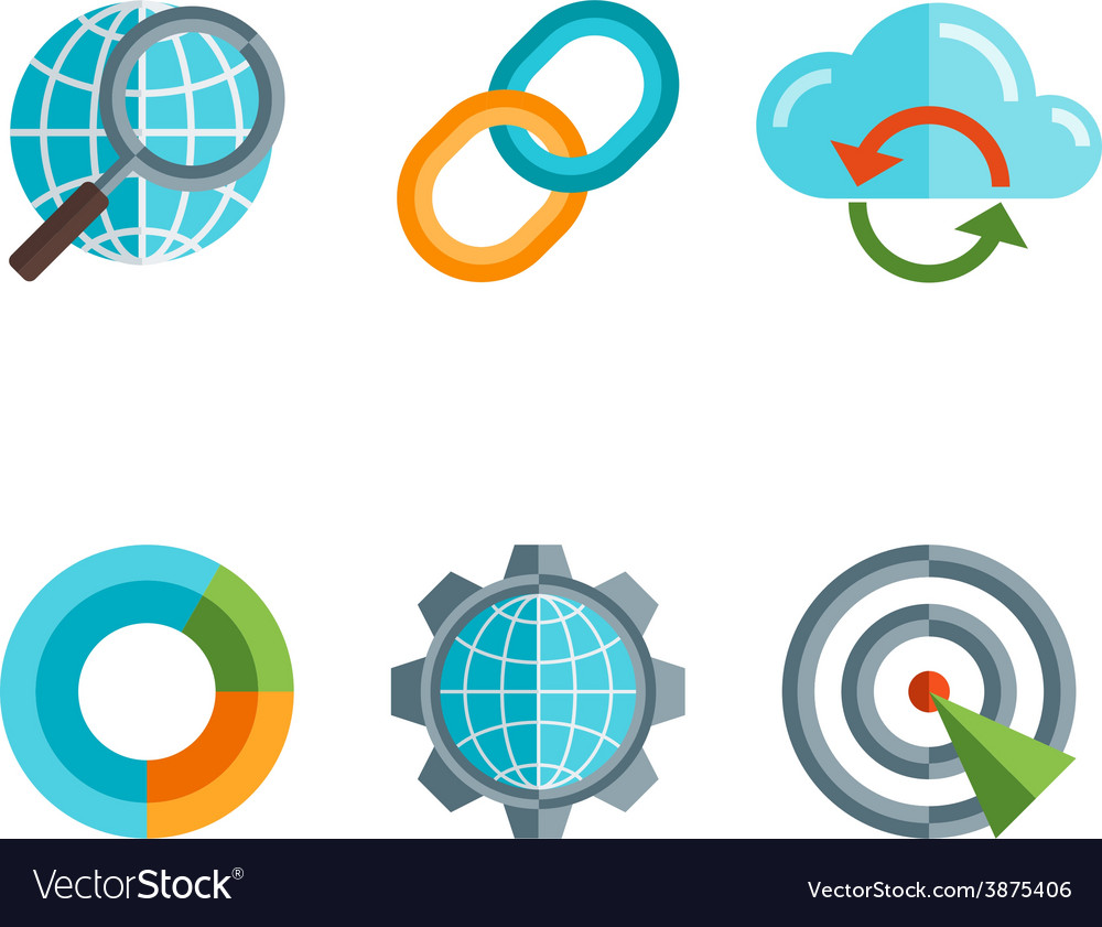 Flat line icons set of website search engine