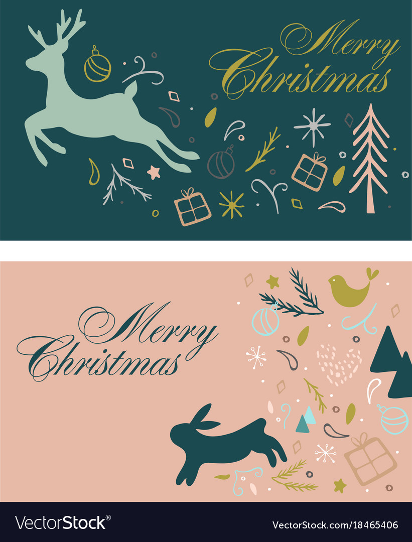 Gift cards for christmas with deer and hair