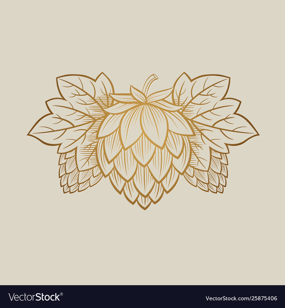 Gold hop cone engrawing beer brewing
