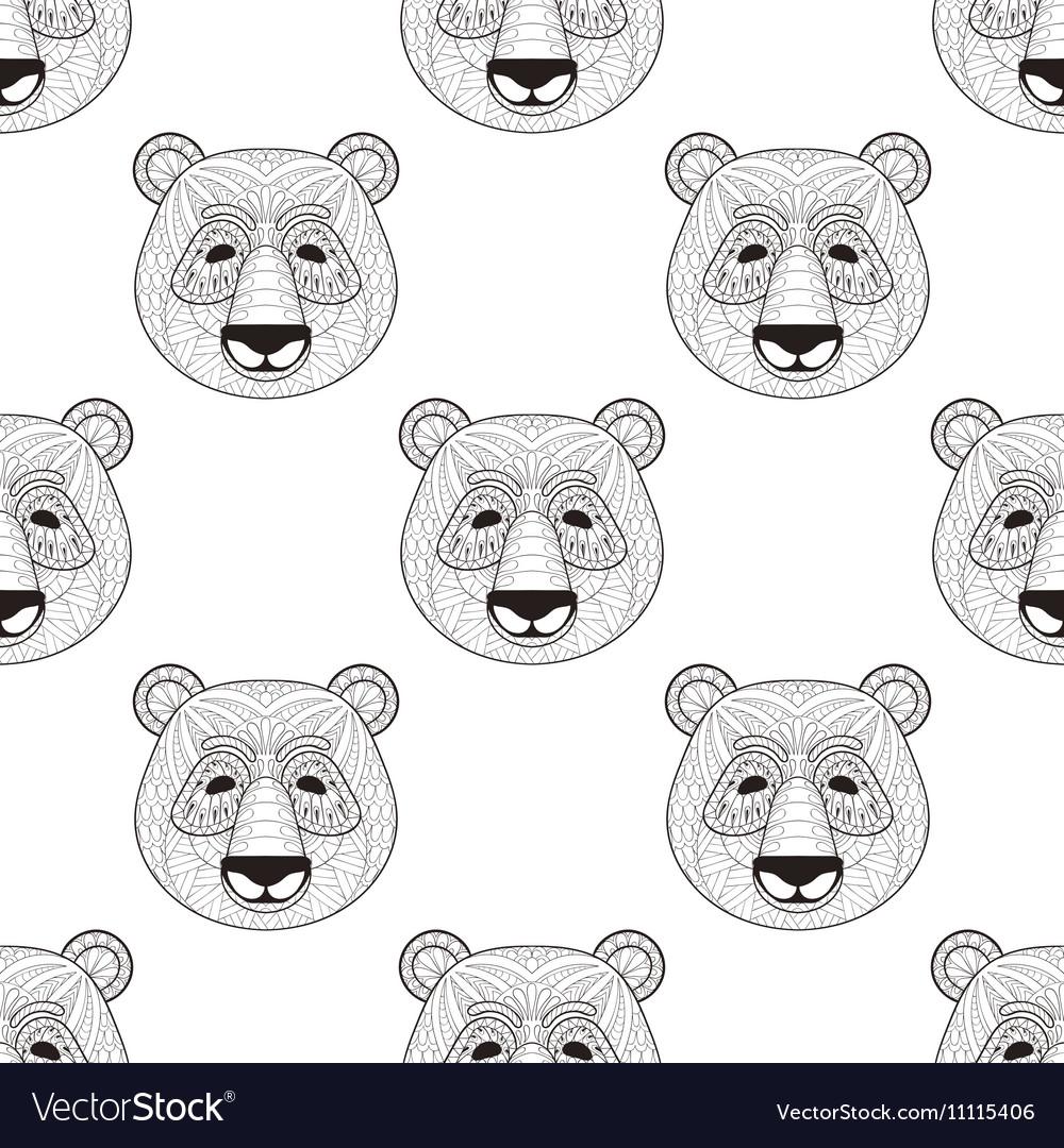 Head Panda seamless pattern in zentangle style