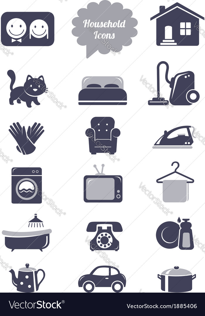 Household icons set vector image