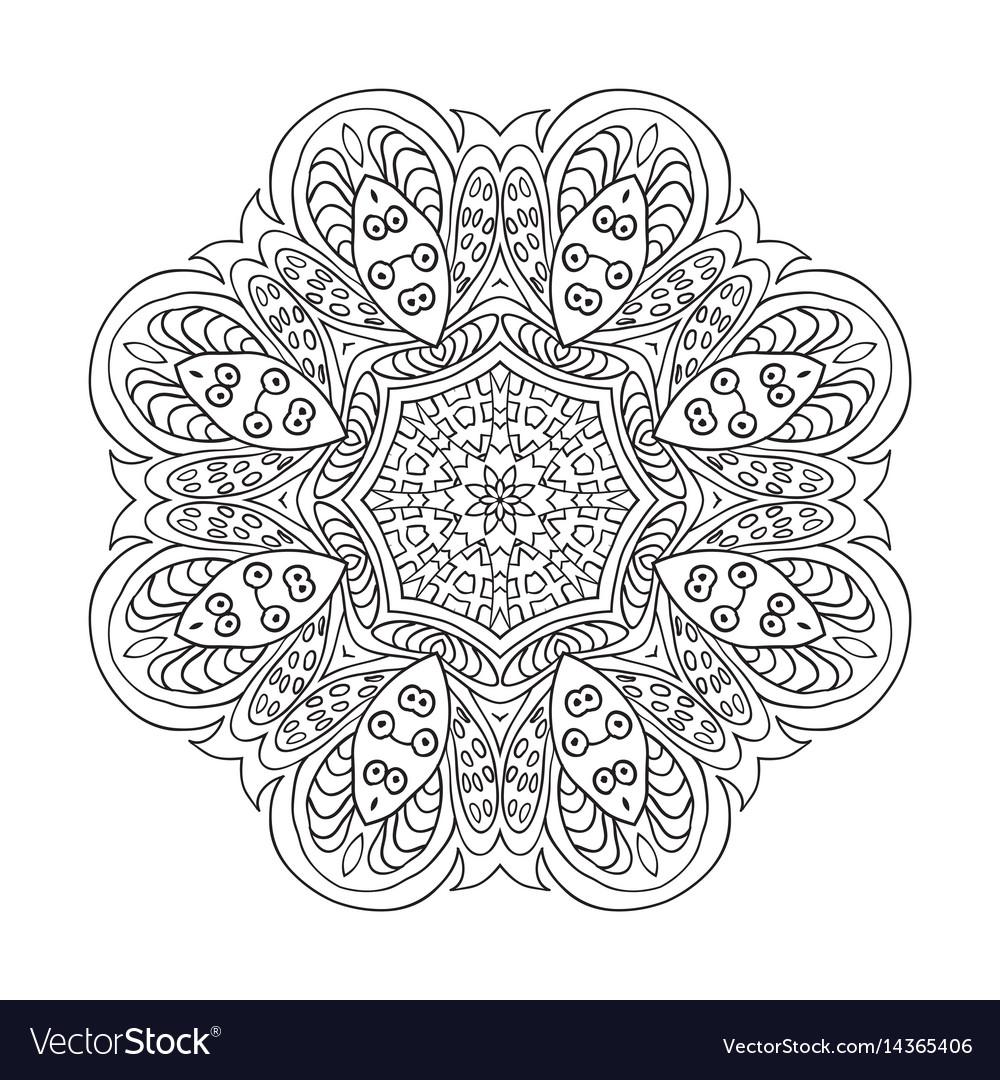 Mandala flower pattern doodle drawing round vector image