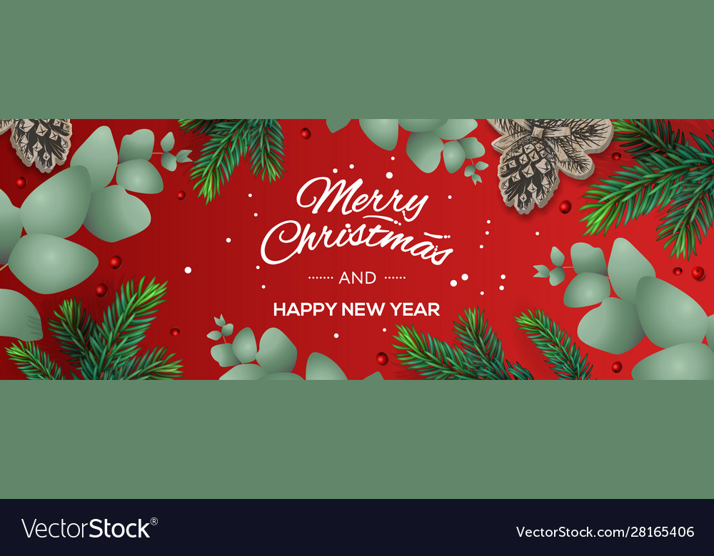 Merry christmas and happy new year horizontal