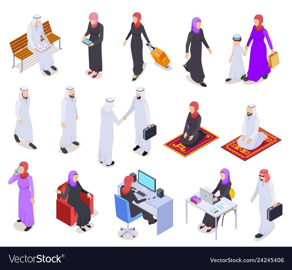 Muslim isometric arab 3d people saudi business