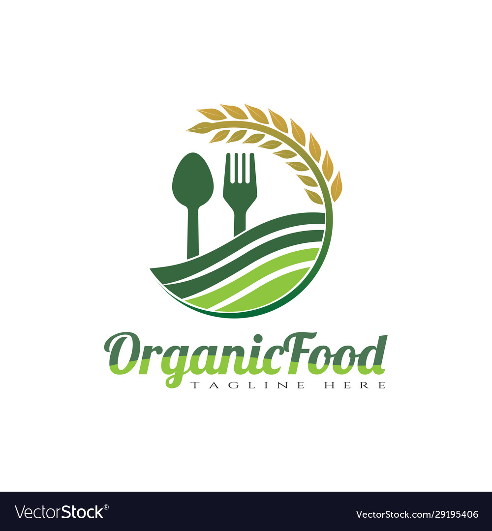 Organic Food Logo Design Spoon And Fork Royalty Free Vector
