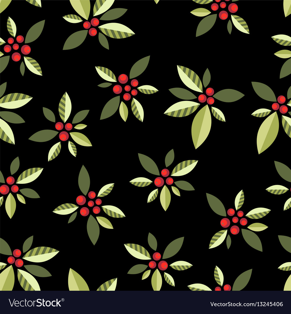 Stylized berries on a black background vector image