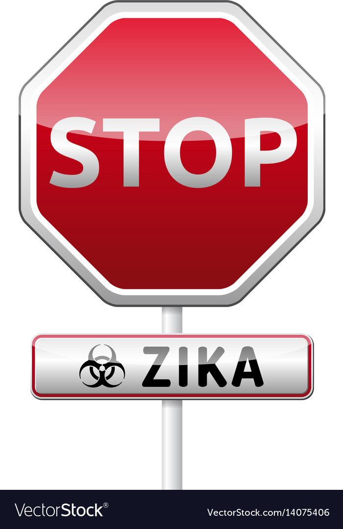 Zika virus danger sign with reflect and shadow on