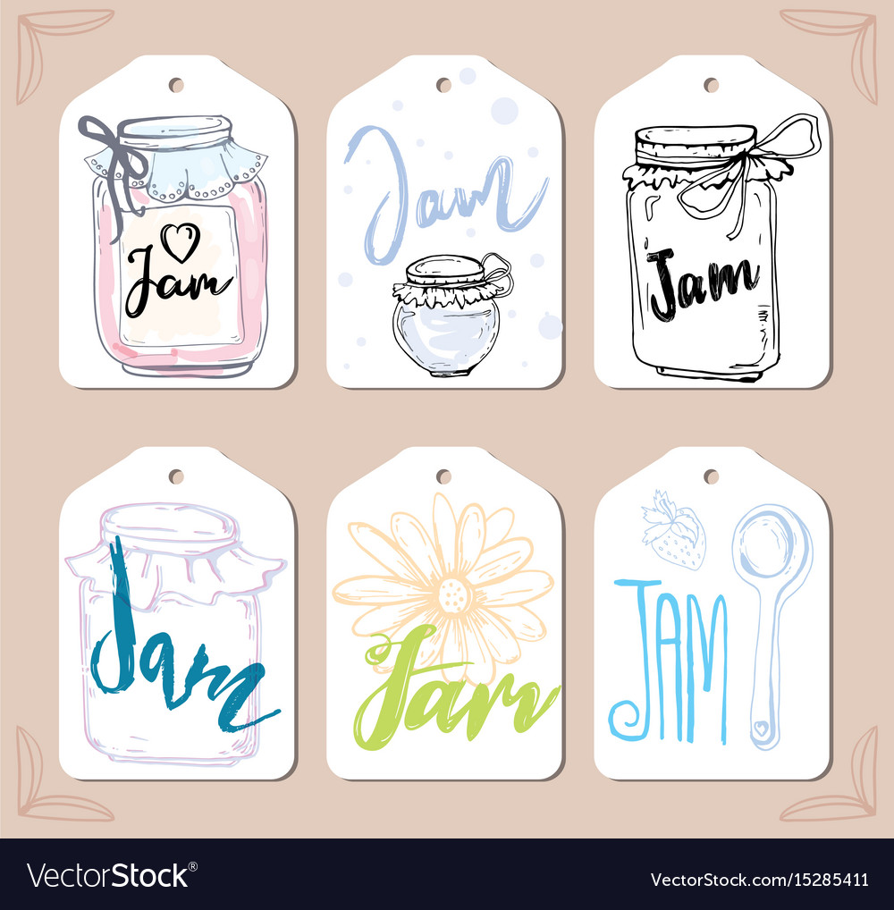 Berries jam label set template of lebel design vector image