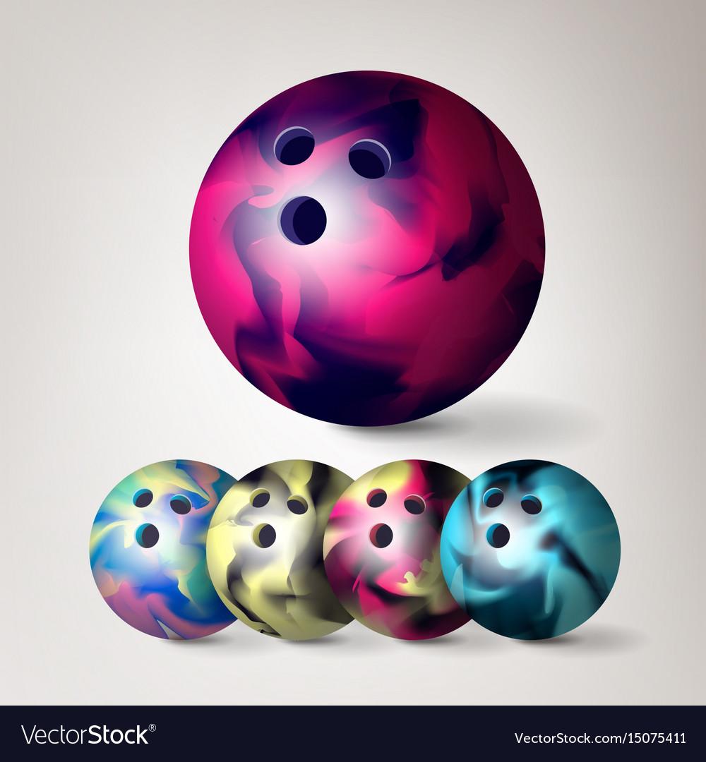 Bowling ball set 3d realistic