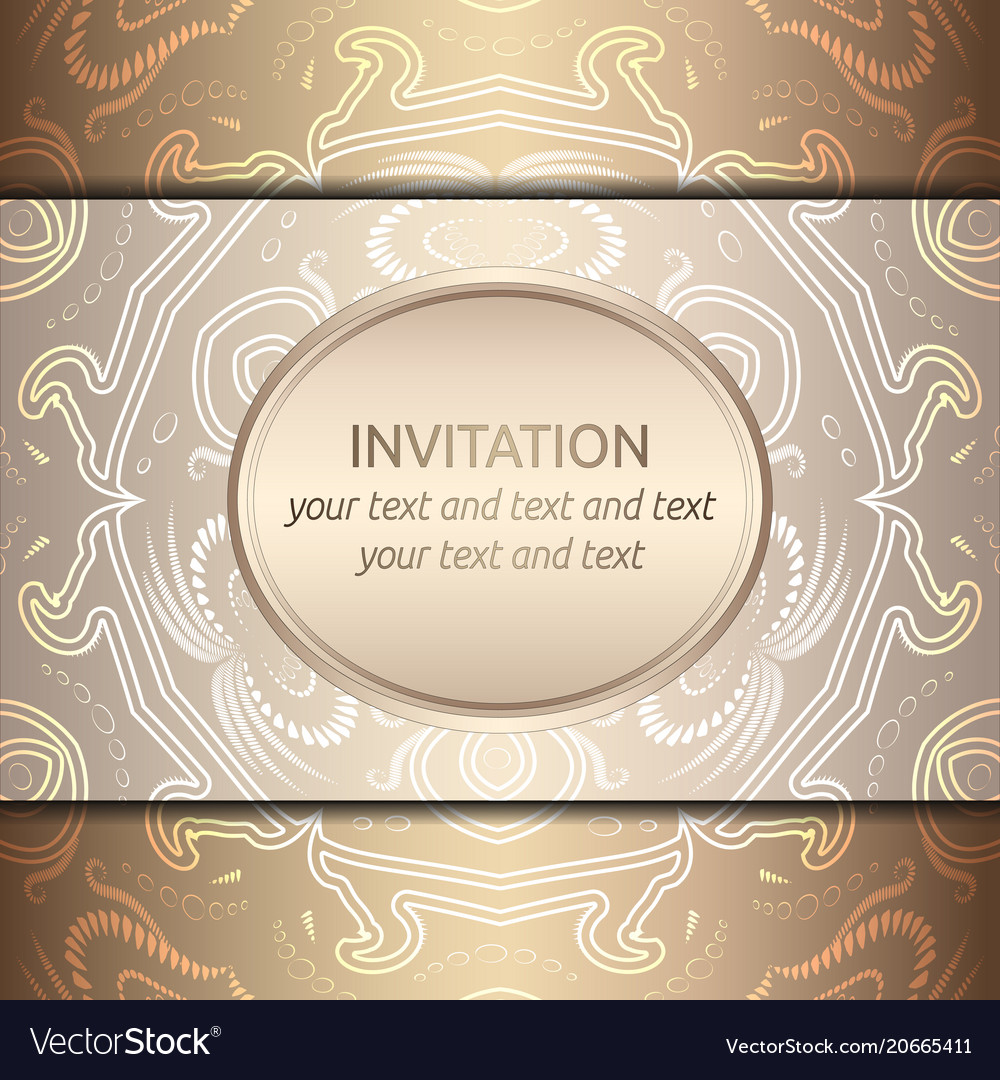 Card with rich golden pattern vector image