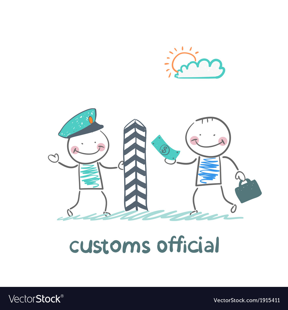 Customs officer takes money from the man vector image