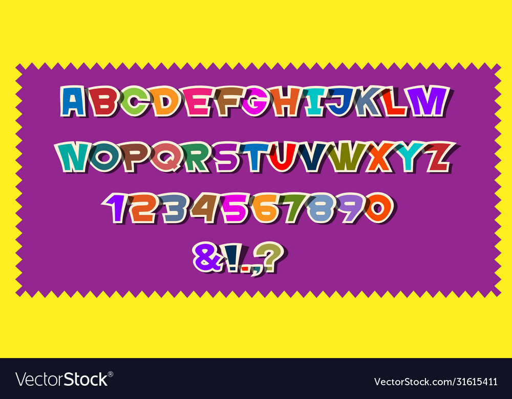 Cute colorful paper alphabet lettersnumbers and