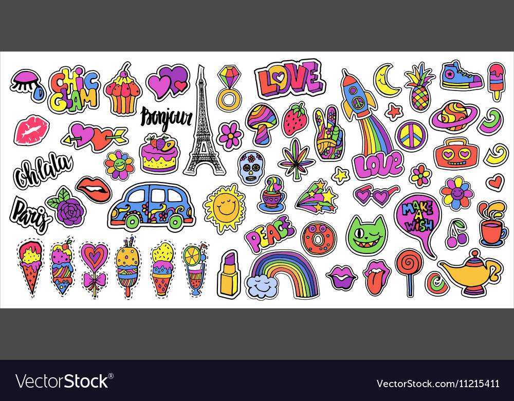Huge set of patch badges with lips hearts Eiffel