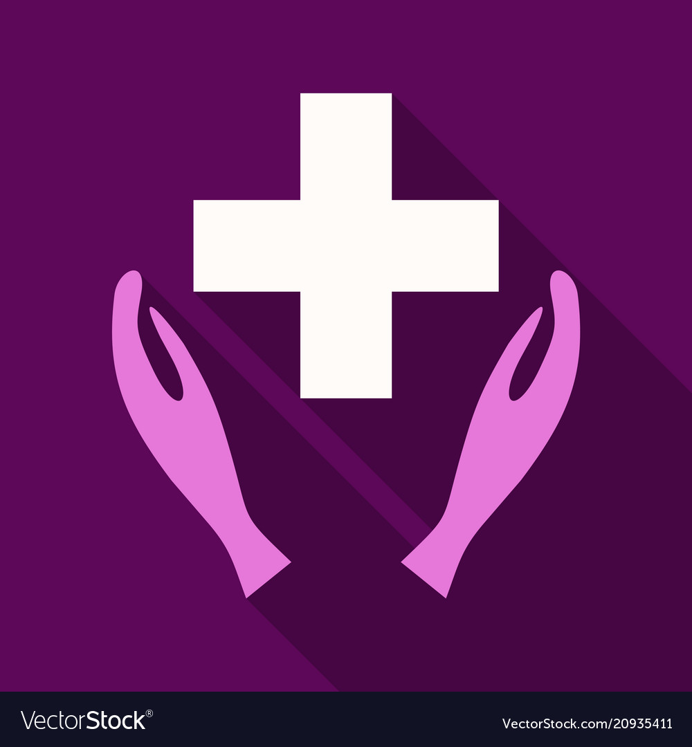 Medical distribution care hands flat pictograph vector image