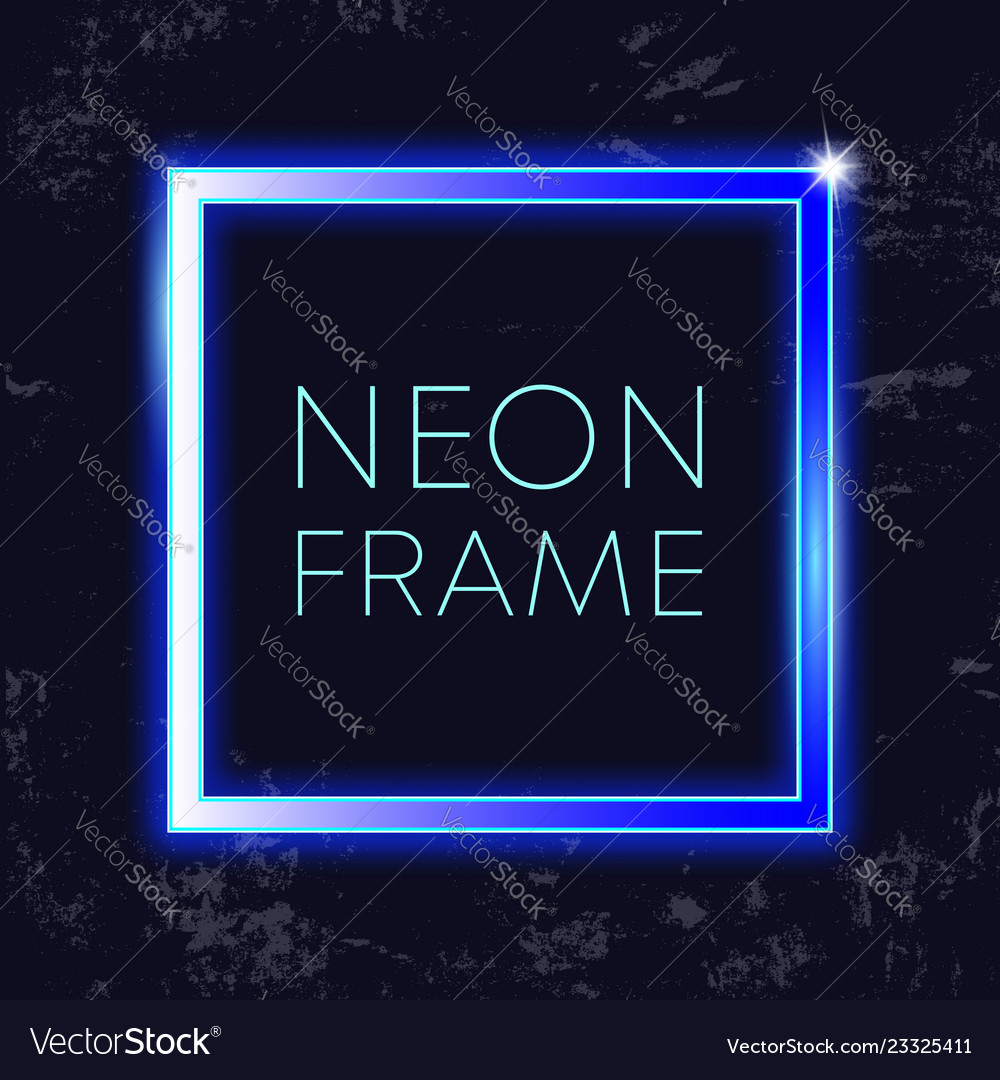 Neon vintage frame glowing rectangle banner on