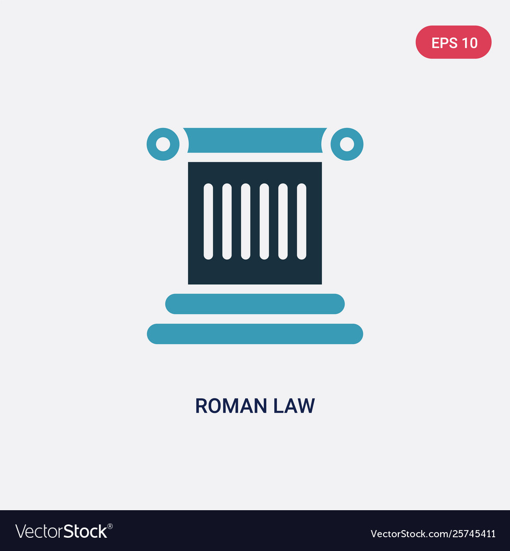 two color roman law icon from law and justice vector image
