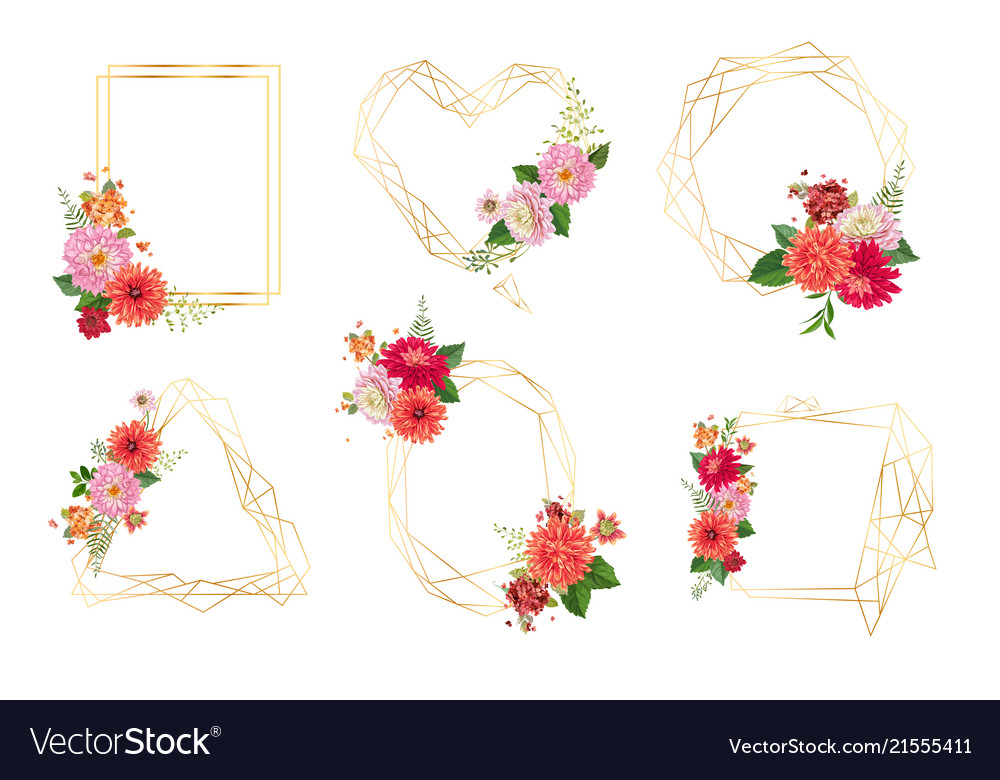 Watercolor floral frames for wedding invitation